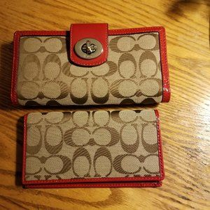 COACH RED SIGNATURE CANVAS CHECKBOOK WALLET